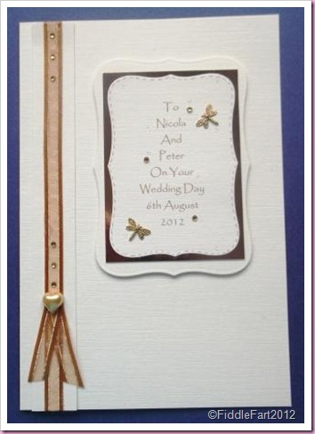 Gold Dragonfly Wedding Card