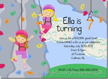 girls climbing wall invitation