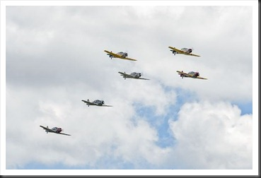 Trainers in formation at WWII Weekend