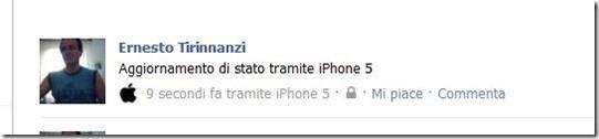 aggiornamento di stato su facebook tramite iphone 5