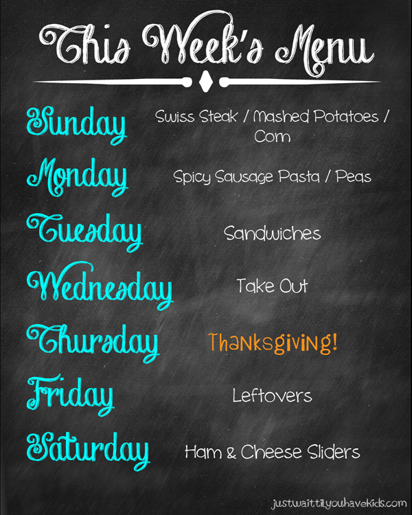 Thanksgiving Week Meal Plan