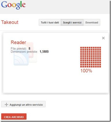Googel Takeout creare archivio Google Reader