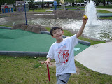 Kai on the mini-golf course at Franklin Square Park