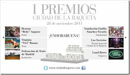 Deporte y Cultura: I Edición de los Premios Ciudad de la Raqueta, 28 noviembre 2011, Madrid.
