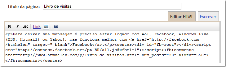 Código da página