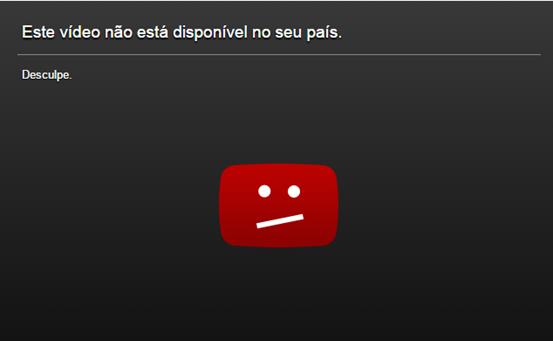 Erro do YouTube - Este vídeo não está disponível no seu país