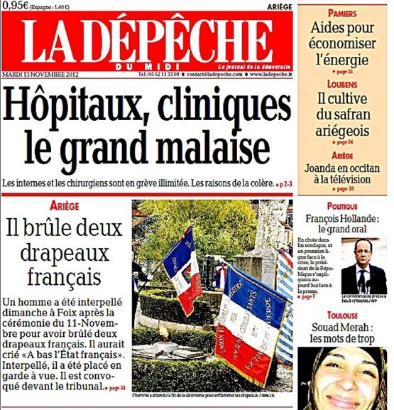 cremar una bandièra francesa l'article publicat per la DDM portada