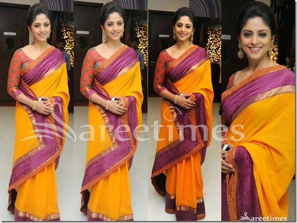 Nadhiya_Yellow_Cotton_Saree