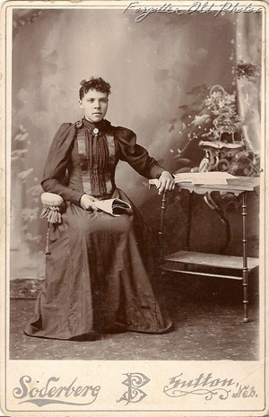 Nebraska lady sitting down Cabinet Card Solway