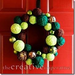 yarn ornament and jingle bell wreath