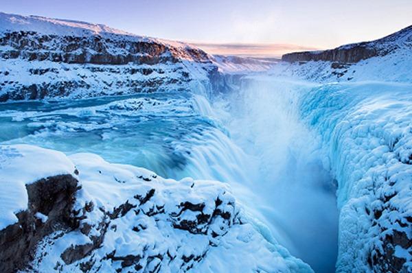 Gullfoss, Iceland frozen