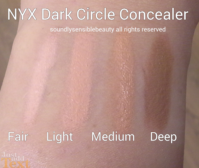 NYX Dark Circle Concealer, Review & Swatches of Shades Fair, Light, Medium, Deep
