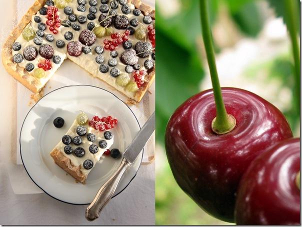 kwadratwa tarta z bitą śmietaną , mascarpone i owocami1