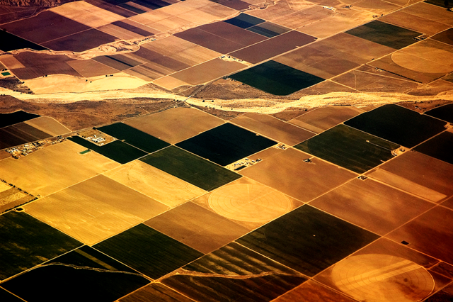Aerial view of a dry riverbed and partially irrigated farms in California, 25 April 2009. dwinstonfidler / flickr
