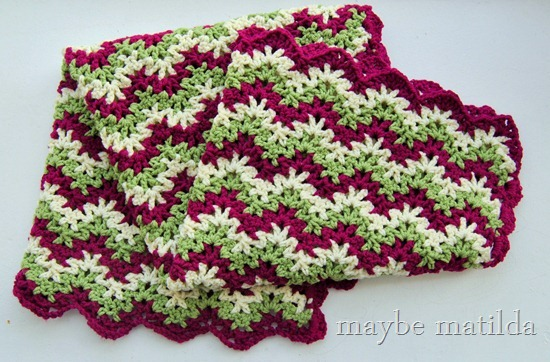 Pink and Green Zig Zag Crochet Baby Blanket by maybe matilda