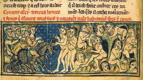 Gimnosofisti nudi uomini e donne incontrano Alessandro (miniatura medievale)