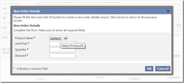 Product Name lookup on the New Order Details create form.