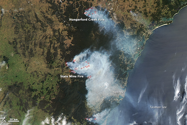 NASA's Aqua satellite acquired this image on 21 October 2013. Red outlines indicate hot spots where MODIS detected unusually warm surface temperatures associated with fire.The largest fire shown here is the State Mine fire, which was burning in the Blue Mountains. The fire had burned more than 42,750 hectares. Photo: Jeff Schmaltz / LANCE/EOSDIS MODIS Rapid Response Team at NASA GSFC