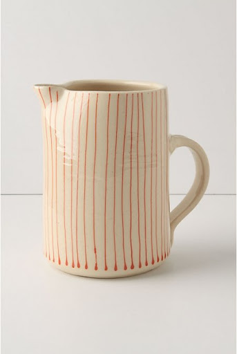 I like the imperfect lines on this pitcher.   (anthropologie.com)