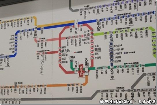 日本電車,新今宮車站,有夠複雜的路線圖。