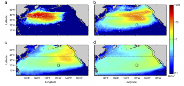 This computer projection shows the estimated extent of the Fukushima spill's plume of radioactive water in 2014. The extent of U.S. coastal waters is indicated by a black line, with a black box enclosing Hawaii. Graphic: Rossi, et al. / Deep-Sea Research I