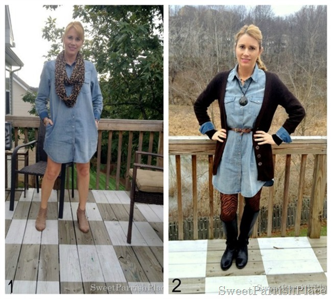 denim shirt dress collage
