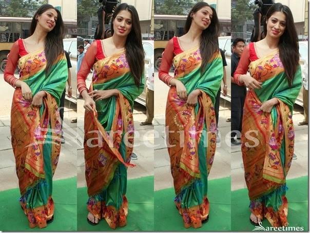 Lakshmi_Rai_Green_Pythani_Silk_Saree