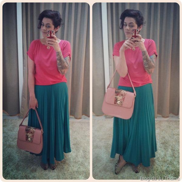 look saia verde blusa rosa