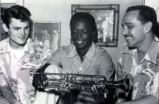 Chet Baker, Miles Davis, Rolf Ericson, photo by Ray Avery.jpg