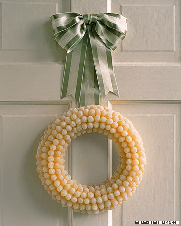 You'll have a hard time keeping little hands off of this yummy wreath made from gumdrops.