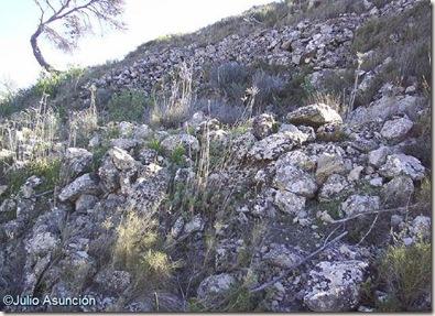 Restos de muros en la ladera norte del yacimiento de El Castillarejo - Pinoso