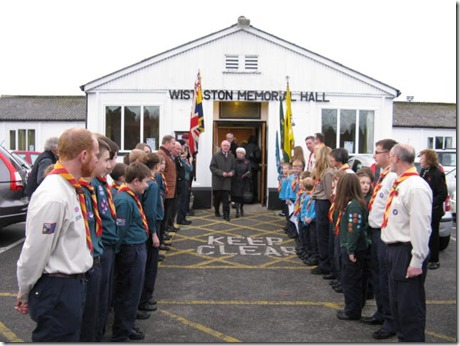 Wistaston 35th SWC Scout Group form a guard of honour outside the Hall after the Service