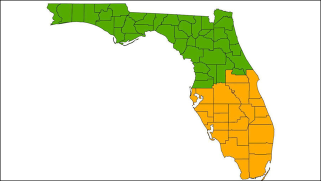 The proposed U.S. state of South Florida. Officials in the city of South Miami proposed that each county shown in orange separate from the rest of the state to become the state of South Florida. Graphic: Charles Minshew