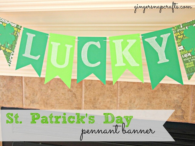 St. Patrick's Day pennant banner via GingerSnapCrafts.com #silhouette