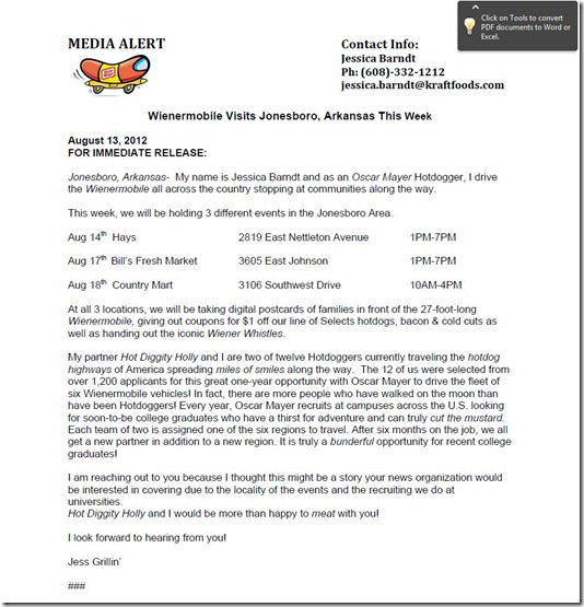 wienermobile press release