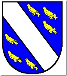 azure a Bend argent between 6 Martlets or