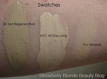 pale-foundation-swatches-NYC-Pur-Minerals-Dr-Jart-Regenerating