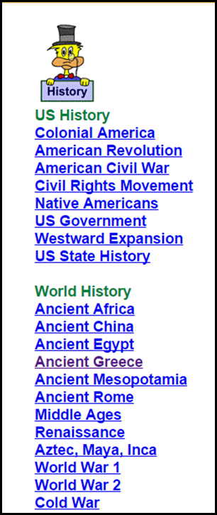 Ducksters – History & Geography – Ducksters is a great website for Science and Social Studies, but the Social Studies part is particularly fabulous.  Each category has tons of links to additional information and subcategories.  This is a great place to start students out when working on a research project.