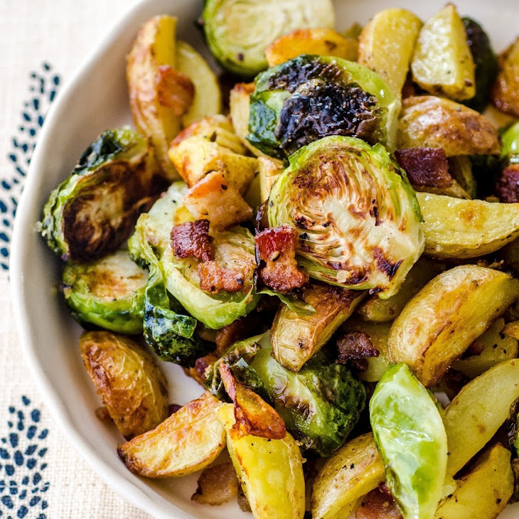 Roasted Potatoes with Bacon & Brussels Sprouts Recipe | Yummly