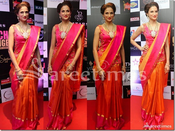 Shilpa_Reddy_Orange_Silk_Saree