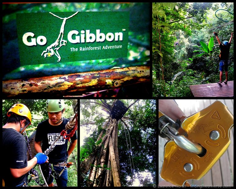 Flight of the Gibbon zip lining collage 3