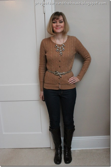 skinny jeans, cardigan, bubble necklace