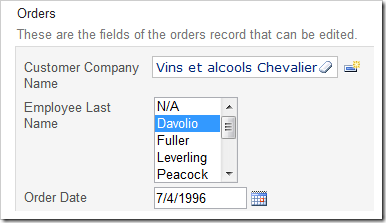 Employee Last Name lookup field configured as a List Box with 5 rows.
