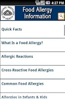 Screenshot of NIH: Food Allergy Information