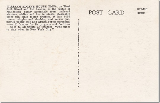 William Sloane House YMCA New York City, Postcard pg. 2