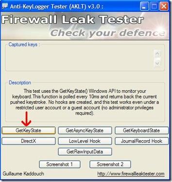Anti-Keylogger Tester avvio del test