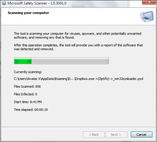 Microsoft Safety Scanner Running