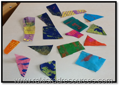 Creating Eric Carle collage letters at the International School of Morocco
