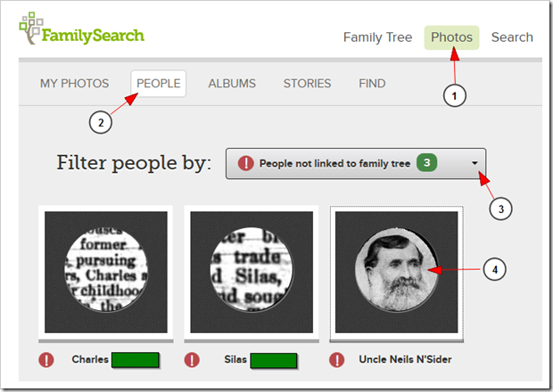 Filter people to show those not linked to Family Tree