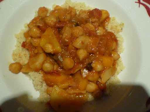Finished stew over couscous.